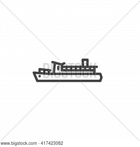 Ferry Boat Line Icon. Linear Style Sign For Mobile Concept And Web Design. Ferry Ship Outline Vector