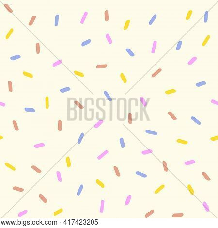 Line Art Vector Illustration Of Pink, Brown, Yellow, Blue Colors Ice Cream Sprinkles In Pastel Color