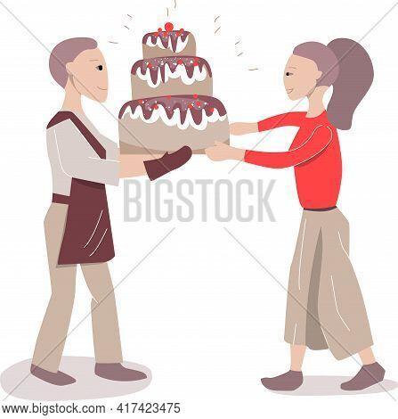 Baker Giving Big Cake To Female Customer. Illustration Can Be Used For Cafe Menu And Food Design Tem