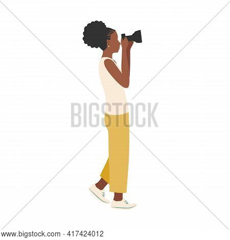 Beautiful Black Girl Photographer With A Camera Looks Into The Lens. Vector Illustration On White Ba