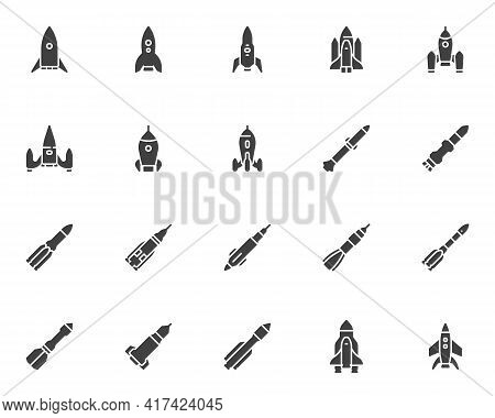 Spaceship Rocket Vector Icons Set, Modern Solid Symbol Collection, Filled Style Pictogram Pack. Sign