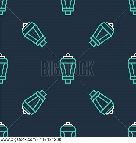 Line Garden Light Lamp Icon Isolated Seamless Pattern On Black Background. Solar Powered Lamp. Lante