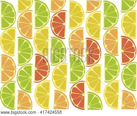 Slices Of Lemon, Lime, Orange And Grapefruit In An Upright Position
