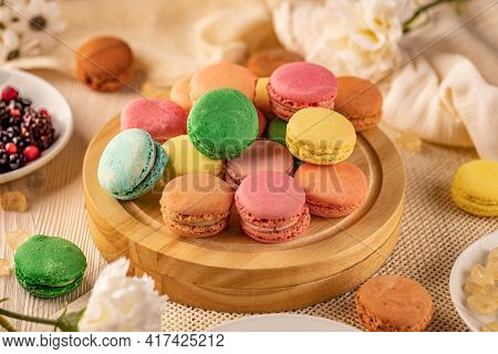 French Macarons Delicate Sandwich Cookies With A Crisp Exterior And Sweet Almond Taste