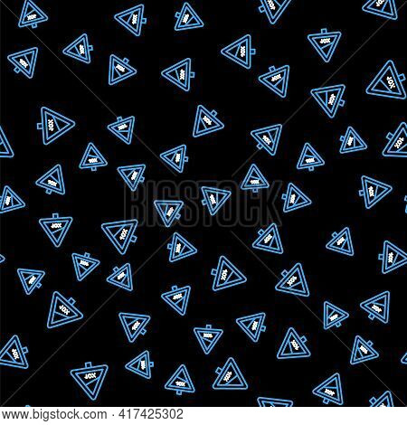 Line Steep Ascent And Steep Descent Warning Road Icon Isolated Seamless Pattern On Black Background.