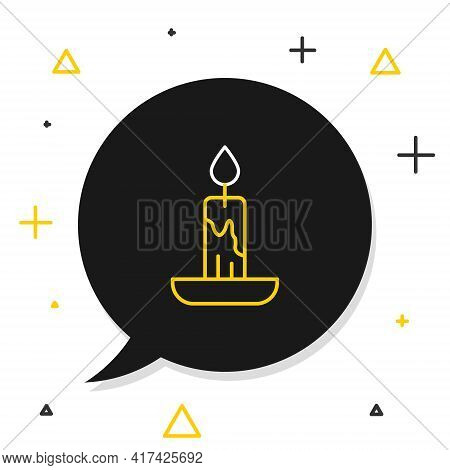 Line Burning Candle Icon Isolated On White Background. Cylindrical Candle Stick With Burning Flame.