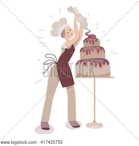 Young Baker Decorating Big Cake With Chocolate Cream. Lifestyle And Hobby. Illustration Can Be Used