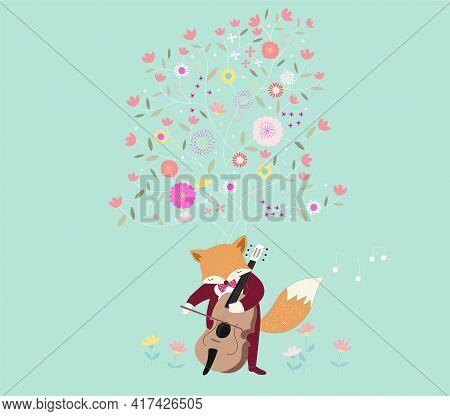 The Cute Baby Raccoon Play Music. Hand Drawn Animal Cartoon Style