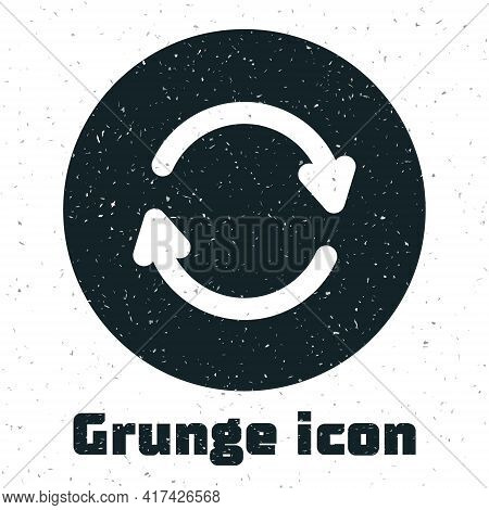 Grunge Refresh Icon Isolated On White Background. Reload Symbol. Rotation Arrows In A Circle Sign. M