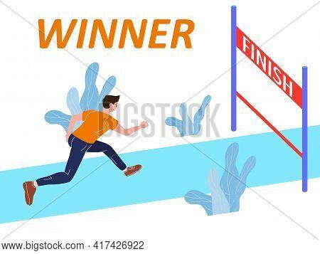 Running Athlete Man Run To Finish Line. Competition Marathon, Sprint Distance Race. Vector Illustrat