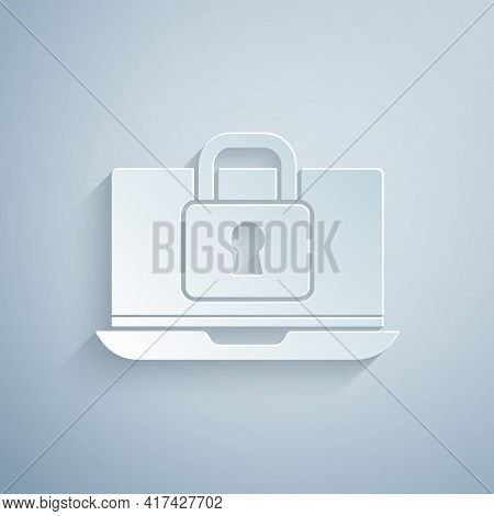 Paper Cut Laptop And Lock Icon Isolated On Grey Background. Computer And Padlock. Security, Safety,