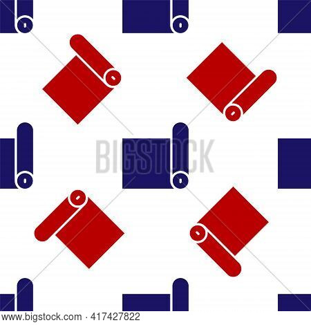 Blue And Red Fitness Mat Roll Icon Isolated Seamless Pattern On White Background. Yoga Mat Rolled. S