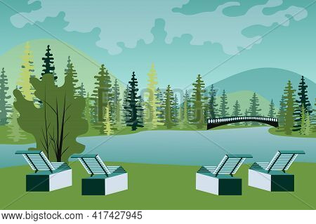 Park With Sun Loungers By Lake Landscape Background In Flat Style. View Of Forest, Seats For Relaxin