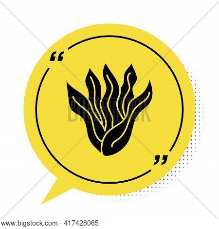 Black Seaweed Icon Isolated On White Background. Underwater Seaweed Spirulina, Aquatic Marine Algae
