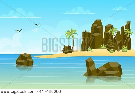 Rocks By Sea Landscape Background In Flat Style. Rocky Mountains At Seashore Or Ocean Water, Palm Tr