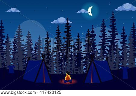 Tent Camp And Bonfire In Forest At Night Landscape Background In Flat Style. Camping Vacation, Overn