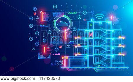 Building Design Concept. Engineering Of Autonomous System Of Smart Building. Drafting Of Communicati