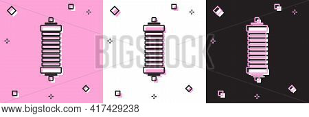 Set Shock Absorber Icon Isolated On Pink And White, Black Background. Vector