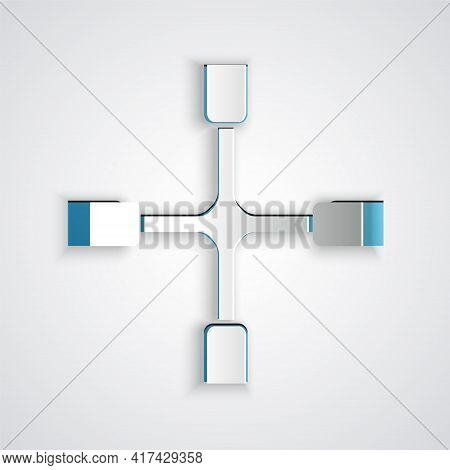 Paper Cut Wheel Wrench Icon Isolated On Grey Background. Wheel Brace. Paper Art Style. Vector