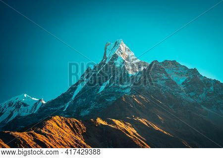 Sunset Above Machapuchare Mardi Himal Track In The Himalaya Mountains