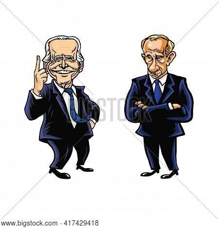 Joe Biden And Vladimir Putin Cartoon Editorial Caricature Drawing Vector Illustration. Washington, 1