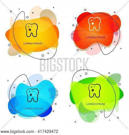Black Tooth With Caries Icon Isolated On White Background. Tooth Decay. Abstract Banner With Liquid