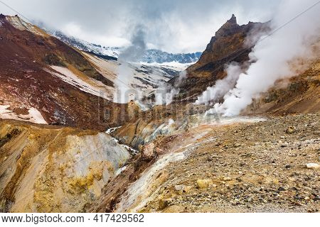 Majestic Mountain Landscape, Crater Of Active Volcano: Hot Spring And Fumarole Activity, Lava Plain.