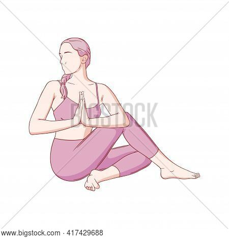 Yoga Woman With Namaste In Lord Of The Fishes Pose. Stretching And Relaxing Yoga Asana. Colored Sket