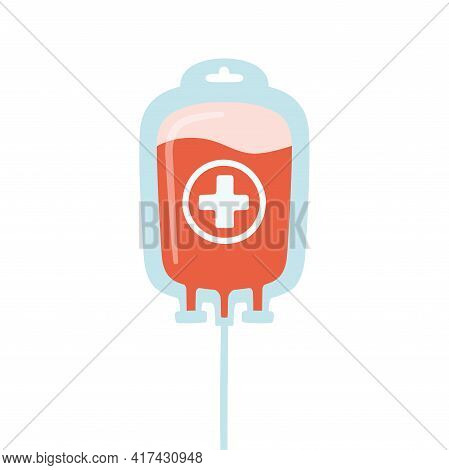 Bag With Donated Blood. Blood Donor Day. Vector Illustration On White Background