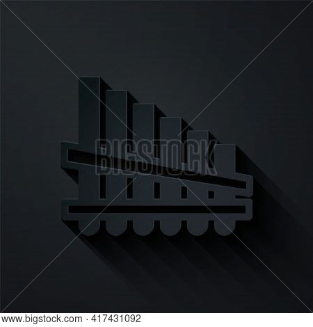 Paper Cut Pan Flute Icon Isolated On Black Background. Traditional Peruvian Musical Instrument. Zamp