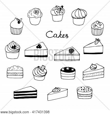 Set Of Cakes Cupcakes And Cheesecakes Vector Illustration Doodles Hand Drawn