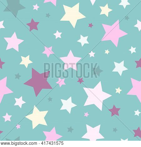 Seamless Abstract Pattern With Stars Of Different Colors And Size. Light Blue Background. Nice And C