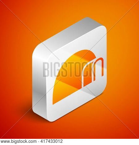 Isometric Igloo Ice House Icon Isolated On Orange Background. Snow Home, Eskimo Dome-shaped Hut Wint