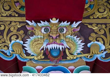 Religious Images In The Shape Of A Tiger In The Buddhist Tibetan Monastery Near Mountain Village Leh