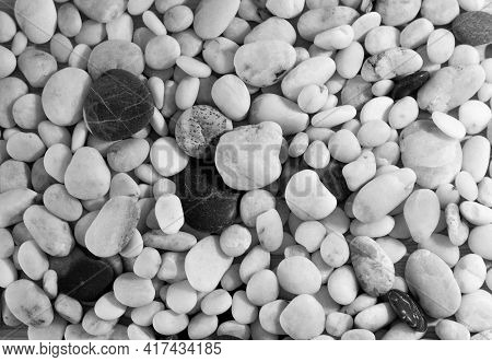 Background Of Sea Pebbles Close-up. Sea Pebble Texture. Black And White Photo