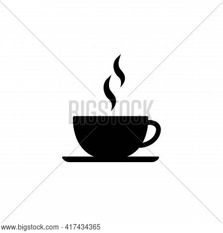 Coffee Or Tea Cup Line Icon In Solid Black. Graphic Elements. Trendy Flat Isolated Symbol Sign For: