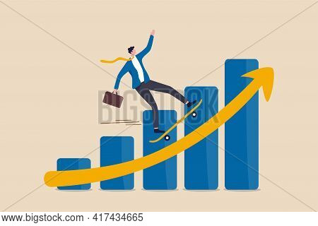 Business Growth Moving Forward, Company Recover From Crisis And Accelerate Growing Up Concept, Smart