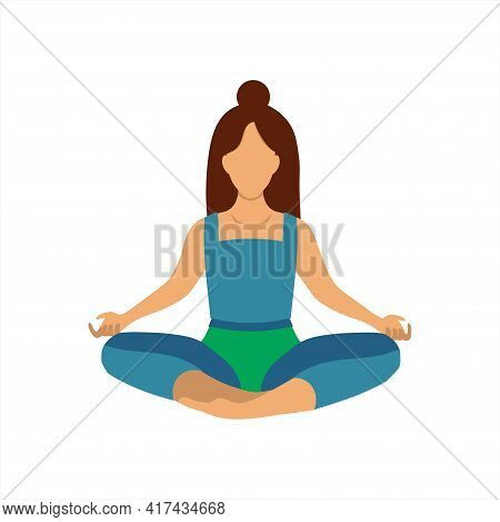 The Woman Is Meditating In The Lotus Position. Concept Illustration For Yoga, Meditation, Relaxation