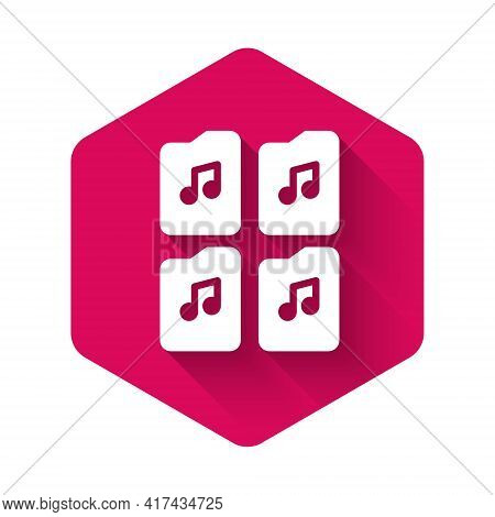 White Music File Document Icon Isolated With Long Shadow. Waveform Audio File Format For Digital Aud
