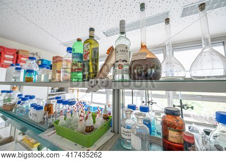 15.02.2021 Koblenz Germany Chemistry Laboratories In Science Classroom Interior Of University Colleg