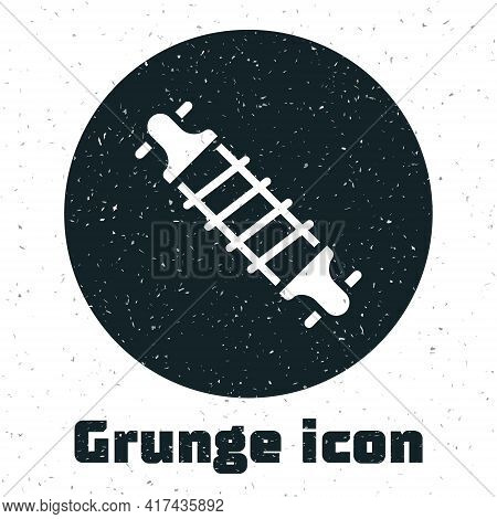 Grunge Bicycle Suspension Icon Isolated On White Background. Monochrome Vintage Drawing. Vector