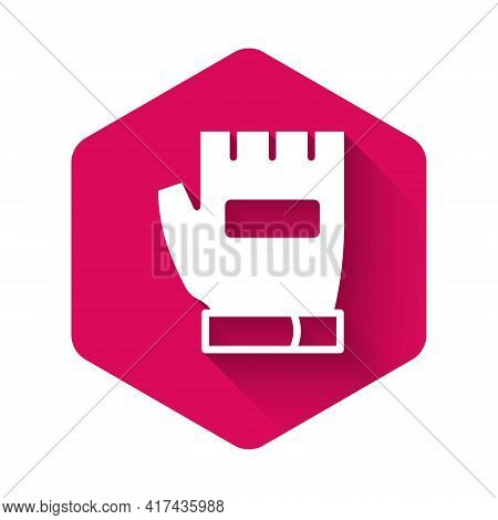 White Gloves Icon Isolated With Long Shadow. Extreme Sport. Sport Equipment. Pink Hexagon Button. Ve
