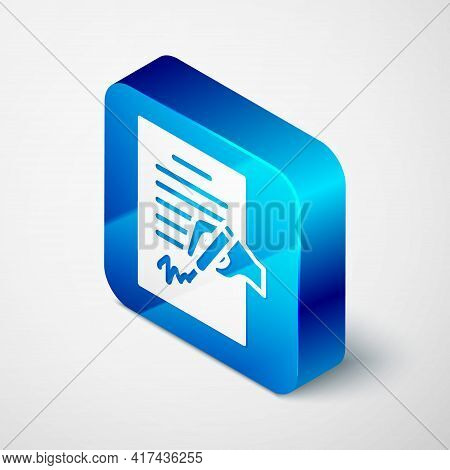 Isometric Petition Icon Isolated On Grey Background. Blue Square Button. Vector
