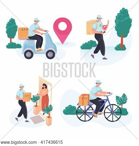 Delivery Service Concept Scenes Set. Courier On Moped Or Bicycle Delivers Parcels, Delivery Order At