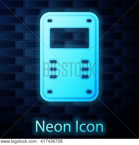 Glowing Neon Police Assault Shield Icon Isolated On Brick Wall Background. Vector