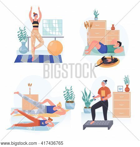 Fitness Concept Scenes Set. Women Doing Aerobics Or Yoga Asanas, Family Exercising, Man Training. Wo