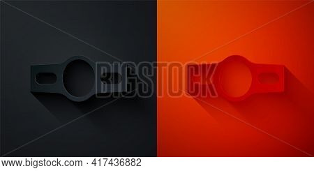 Paper Cut Boxing Belt Icon Isolated On Black And Red Background. Belt Boxing Sport Championship Winn