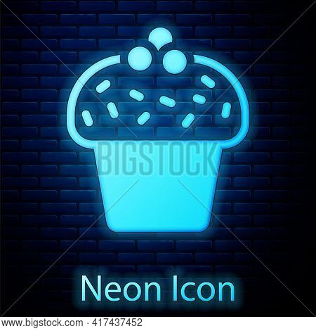 Glowing Neon Cake Icon Isolated On Brick Wall Background. Happy Birthday. Vector