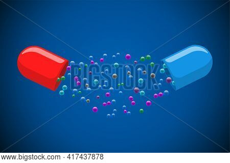 Medical Capsule Pill Open With Many Colorful Molecules On Blue Background. Medicine Drug Vitamin Imp