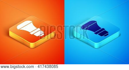 Isometric Led Light Bulb Icon Isolated On Orange And Blue Background. Economical Led Illuminated Lig